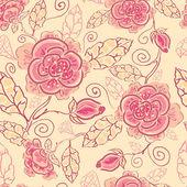 Ligne art roses sans soudure fond — Vecteur