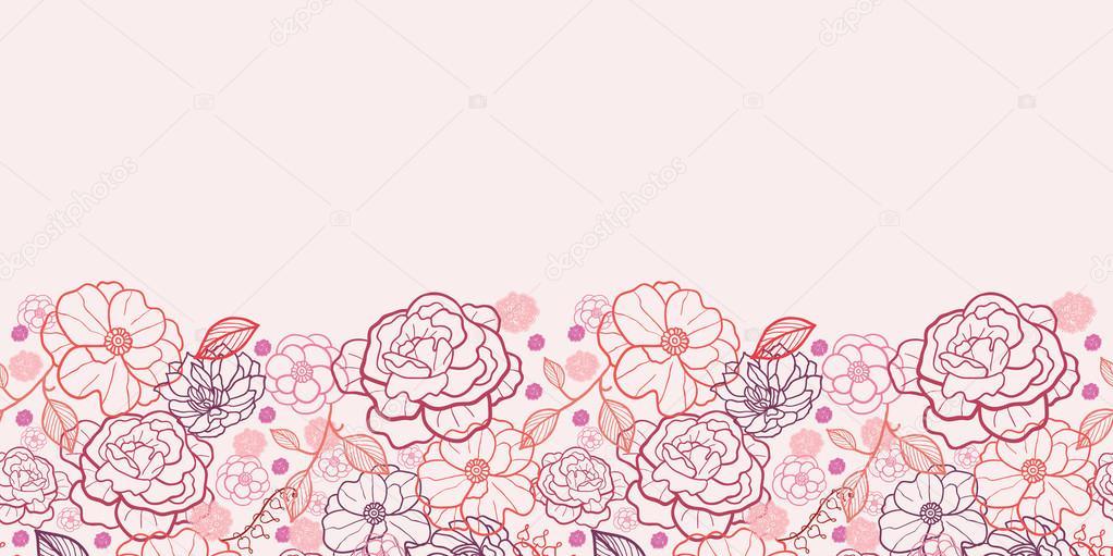 Line Art Flower Border : Line art flowers horizontal seamless pattern background
