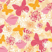 Textured Butterflies Seamless Pattern Background — Stok Vektör