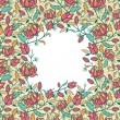 Colorful flowers and leaves frame seamless pattern border — Stock Photo #15854441