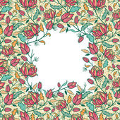 Colorful flowers and leaves frame seamless pattern border — Stock Photo