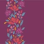 emboridered kwiaty pionowy wzór granicy — Wektor stockowy