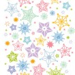 Colorful stars vertical seamless pattern background border — Stock Vector