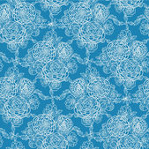 Blue lace flowers seamless pattern background — Stock Vector
