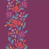 Emboridered Flowers Vertical Seamless Pattern border — Stock Vector