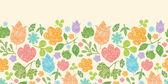 Textured spring plants horizontal seamless pattern border — Stock Vector