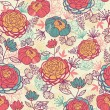 Peony flowers and leaves seamless pattern background — Image vectorielle