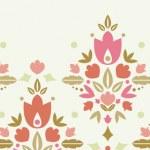 Floral damask horizontal seamless pattern background border — Stock Vector