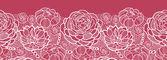 Frontera de encaje rojo flores patrón horizontal fondo — Vector de stock