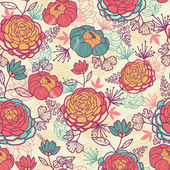 Peony flowers and leaves seamless pattern background — ストックベクタ