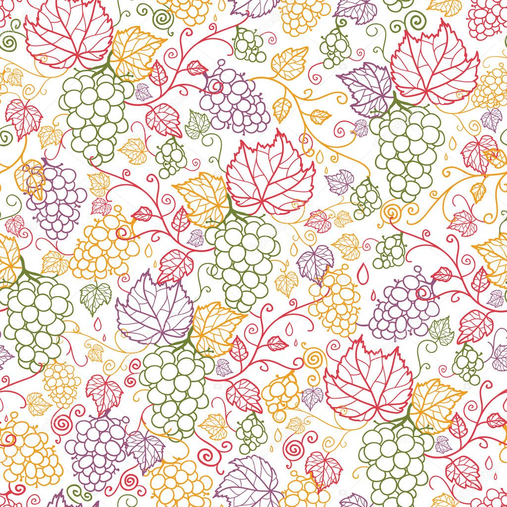 Line Art Grape Vines Seamless Pattern Background Stock Vector