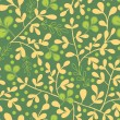 Stock Vector: Green And Gold Leaves Seamless Pattern Background