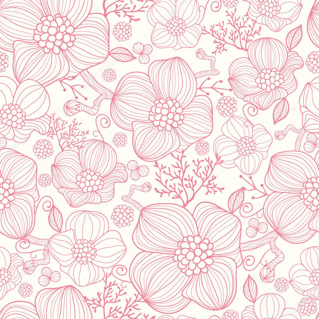 Red Flower Line Drawing : Red line art flowers seamless pattern background — stock