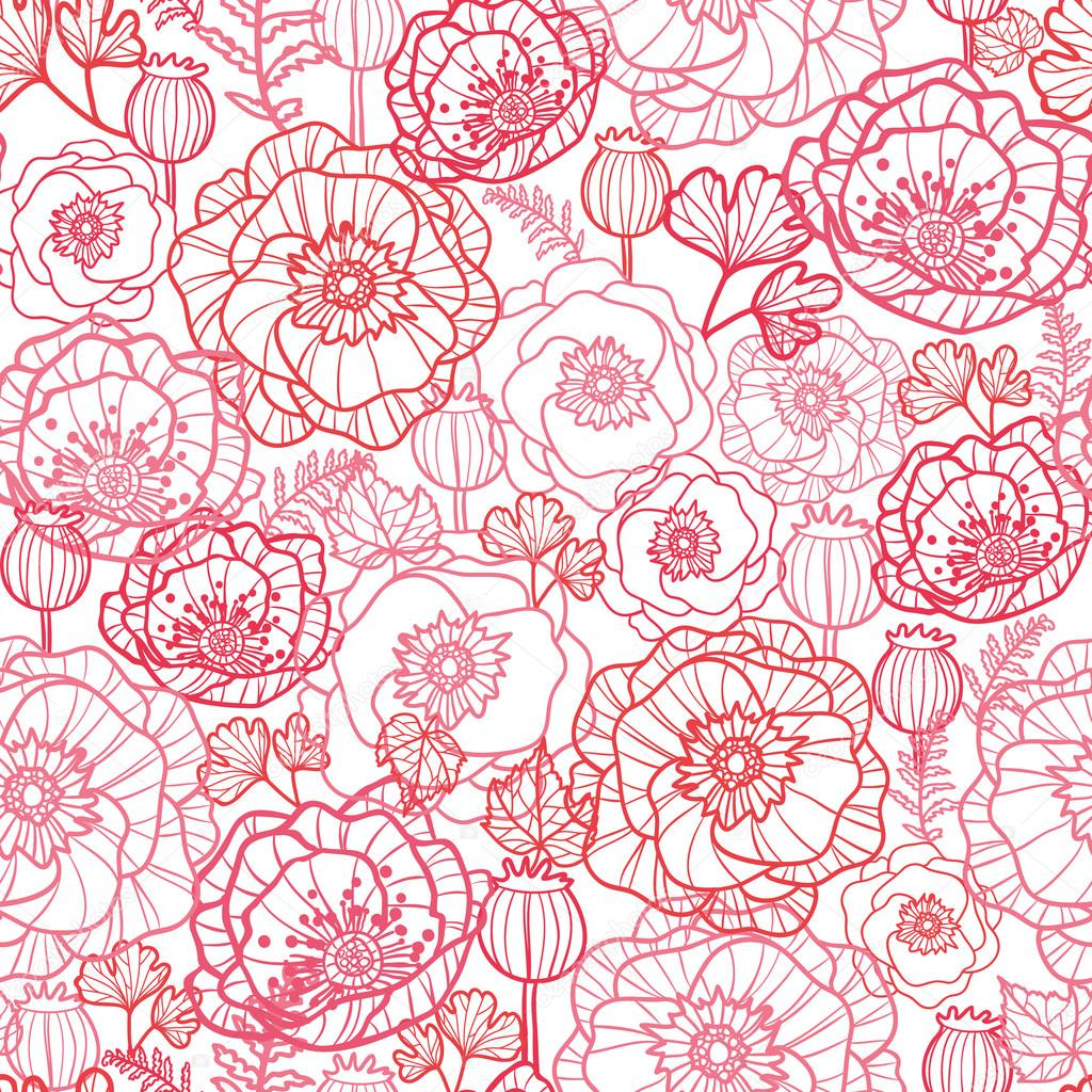 Vector poppy flowers line art seamless pattern background with hand drawn floral elements. — Stock Vector #15954699