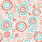 Doodle textured circles seamless pattern background — Vector de stock