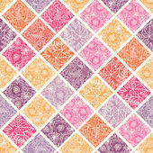 Floral mosaic tiles seamless pattern background — Stok Vektör