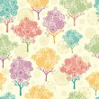 colorful abstract trees seamless pattern background — Stock Vector
