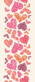 Textured Red Hearts Vertical Seamless Pattern Border — 图库矢量图片