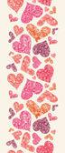 纹理的红心垂直无缝图案边界 — 图库矢量图片