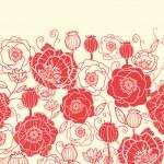 Red poppy flowers horizontal seamless pattern border — Stock Vector #16054307