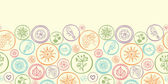 Colorful circles horizontal seamless pattern background border — Stock Vector