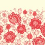 Red poppy flowers horizontal seamless pattern border — Stock Vector #16066199