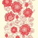 Red poppy flowers vertical seamless pattern border — Stock Vector #16067745