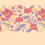 Poppy flowers and birds horizontal seamless pattern border — Stock Vector #16068797