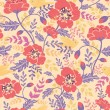 Poppy flowers and birds seamless pattern background — ストックベクタ