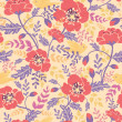 Poppy flowers and birds seamless pattern background — 图库矢量图片