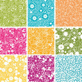 Set Of Nine Spring Flowers Seamless Patterns Backgrounds — ストックベクタ