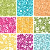 9 春の花のシームレスなパターン背景のセット — ストックベクタ