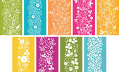 9 春花シームレス パターンを垂直方向の罫線のセット — ストックベクタ