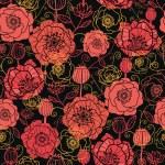 červené a černé květy máku vzor bezešvé pozadí — Stock vektor