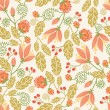 Spring flowers and berries seamless pattern background — Stock Vector