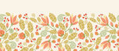 Spring flowers and berries horizontal seamless pattern border — Stock Vector