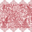 Red lace flowers horizontal seamless pattern border - Stock Vector