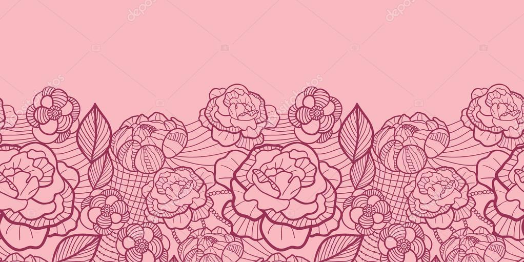 Red Flower Line Drawing : Frontera línea roja arte flores patrón sin costuras
