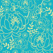 Yellow and blue flowers and leaves seamless pattern background — Stock Vector