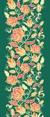 Magische bloemen en bladeren verticale naadloze patroon grens — Stockvector