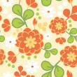 Orange kimono flowers seamless pattern background — Stock Vector