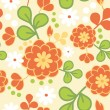 Stock Vector: Orange kimono flowers seamless pattern background