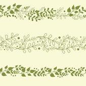 Drei grüne pflanzen horizontale nahtlose muster hintergründe festlegen — Stockvektor