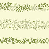 Three Green Plants Horizontal Seamless Patterns Backgrounds Set — Vettoriale Stock