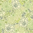 Green succulent plants seamless pattern background - Векторная иллюстрация