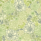 Green succulent plants seamless pattern background — Stok Vektör