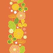 Golden flowers vertical seamless pattern background border — Stock Vector