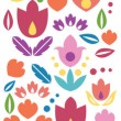 Abstract tulips vertical seamless pattern background border — Stock Vector