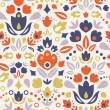 Ornamental folk tulips seamless pattern background — Stock Vector