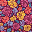 Summer flowers seamless pattern background — ストックベクタ